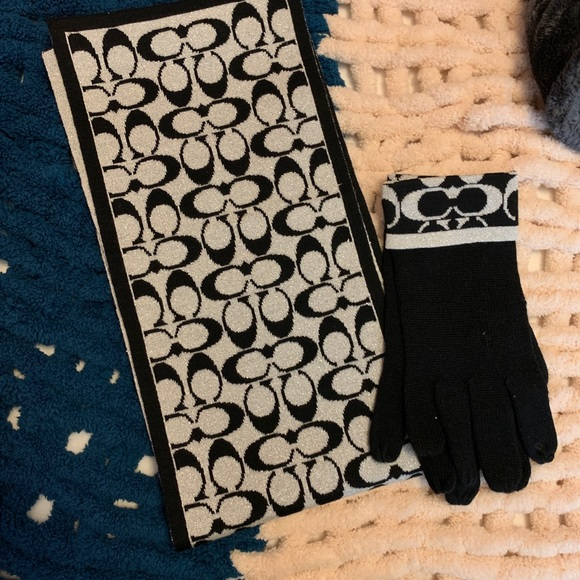 NWOT Coach Scarf & Gloves Set